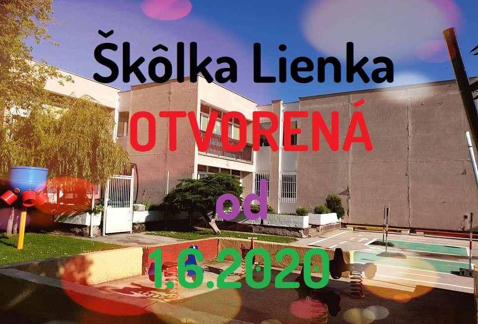 Škôlka Lienka otvorená od 1.6.2020