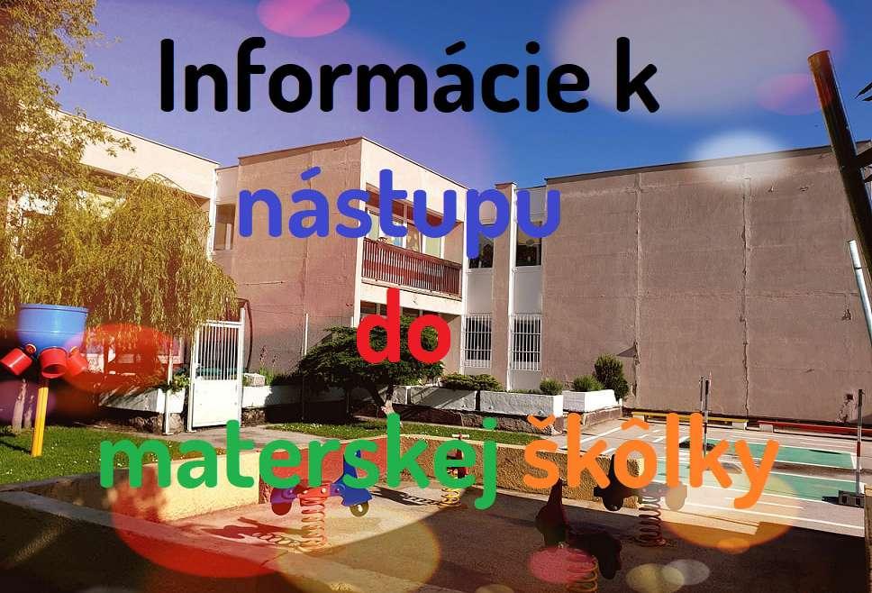 Informácie k nástupu do MŠ